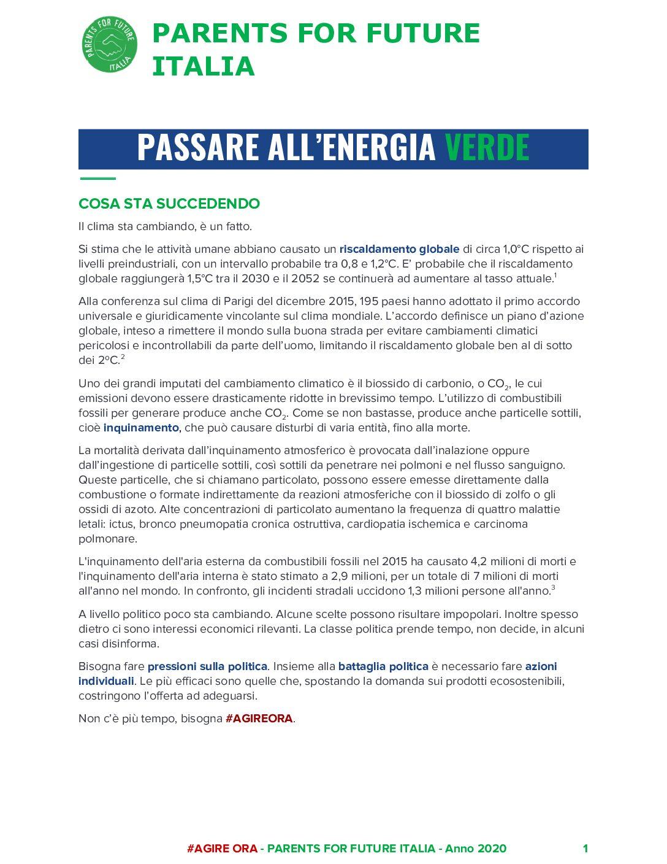 Passare all'energia verde